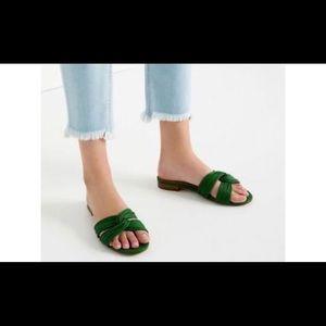 Zara Green Strappy Flat Sandals Slippers size 8
